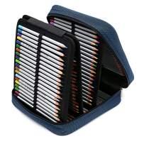 BTSKY 160 Slots Pencil Case - -Oxford Fabric Pencil Organizer Handy Pencil Wrap Holder for Prismacolor Watercolor Pencils, Crayola Colored Pencils, Marco Raffine Pencils (Blue)