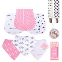 """Baby Burp Cloths Pack for Newborn Girls 3 Bibs,3 Burps,2 Pacifier Clips,1 Pacifier case Soft Absorbent 100% Organic Cotton""""Burp Cloths Girl""""Amazing Gifts Set for Baby Shower …"""