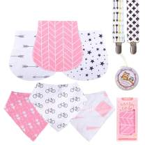 "Baby Burp Cloths Pack for Newborn Girls 3 Bibs,3 Burps,2 Pacifier Clips,1 Pacifier case Soft Absorbent 100% Organic Cotton""Burp Cloths Girl""Amazing Gifts Set for Baby Shower …"