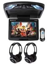 "Rockville RVD12HD-BK 12"" Black Flip Down Car Monitor DVD/USB Player+Headphones"
