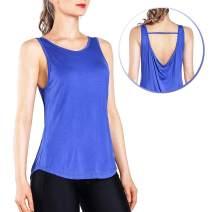 Ogeenier Women's Open Back Workout Tank Top Shirts Yoga Fitness Training Sports Tank Sleeveless Top