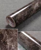 "Yancorp 15.7""X120"" Dark Brown Marble Contact Paper Removable Wallpaper Film Self-Adhesive Granite Kitchen Peel Stick Backsplash Marble Tile Countertop Shelf Liner"