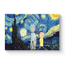 """HAOSHUNDA HSD Wall Art Rick and Morty Posters On Canvas Oil Painting Posters and Prints Decorations Wall Art Picture Living Room Wall Ready to Hang 12"""" x 18"""" 16"""" x 24"""" (16""""x24""""x1, Artwork-19)"""