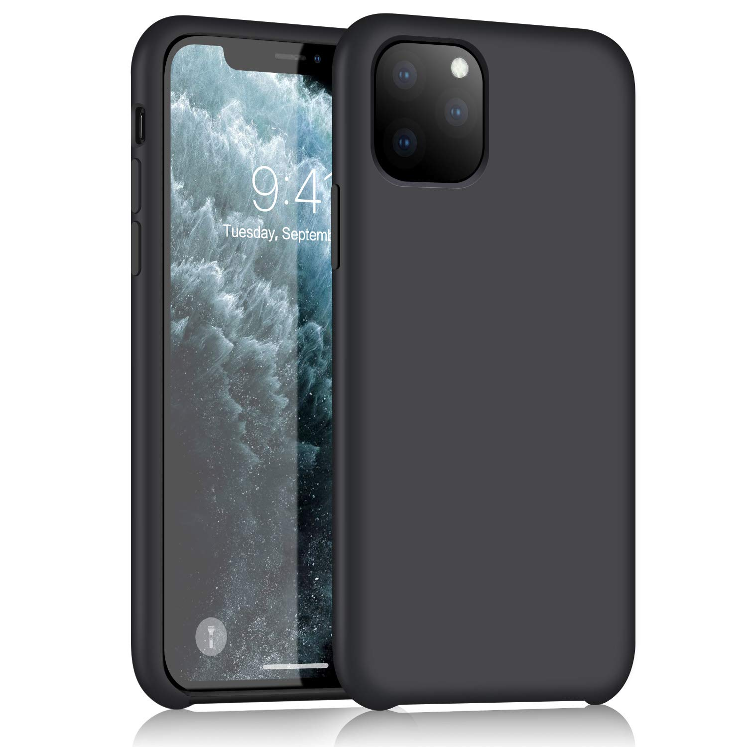 XSHNUO iPhone 11 Pro Silicone Case, Liquid Silicone Gel Rubber Ultra Thin Case with Soft Microfiber Cloth Lining Cushion for iPhone 11 Pro (2019) 5.8 inch (Black)