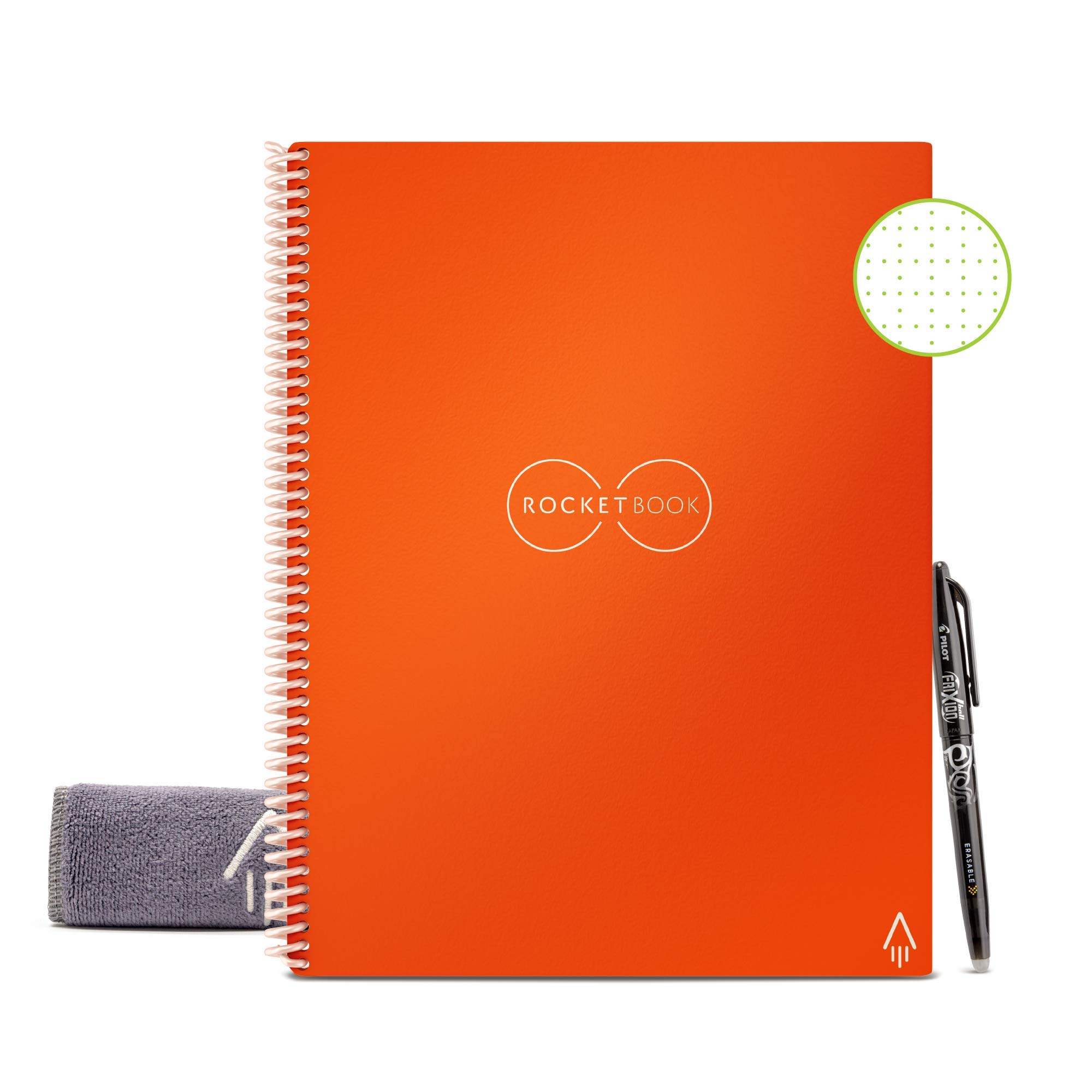 """Rocketbook Smart Reusable Notebook - Dot-Grid Eco-Friendly Notebook with 1 Pilot Frixion Pen & 1 Microfiber Cloth Included - Beacon Orange Cover, Letter Size (8.5"""" x 11"""")"""