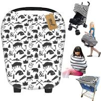 iZiv Ultrasoft 4-in-1 Multi-use Baby Stretchy Cover Car Seat Canopy/Nursing Cover/Shopping Cart Cover/Infinity Scarf Perfect Gift for Baby