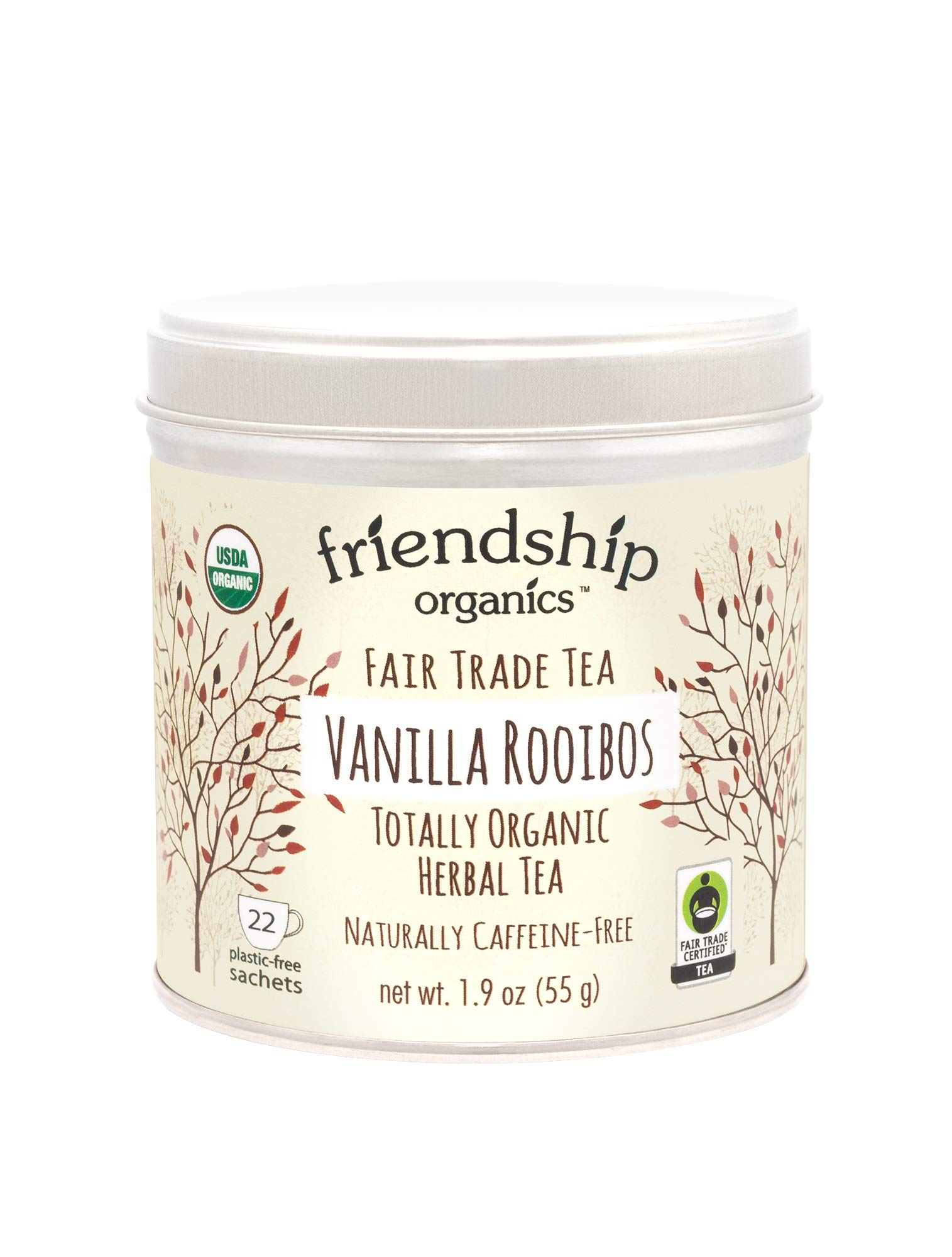 Friendship Organics Vanilla Rooibos, Totally Organic and Fair Trade Herbal Tea in Tagless Tea Bags (22 Count)