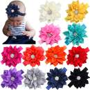 12Pcs Baby Headbands Flower Hairbands 3.5Inch Hair Bows with Rhinestones Hair Accessories for Baby Girls Toddlers Infant Newborns