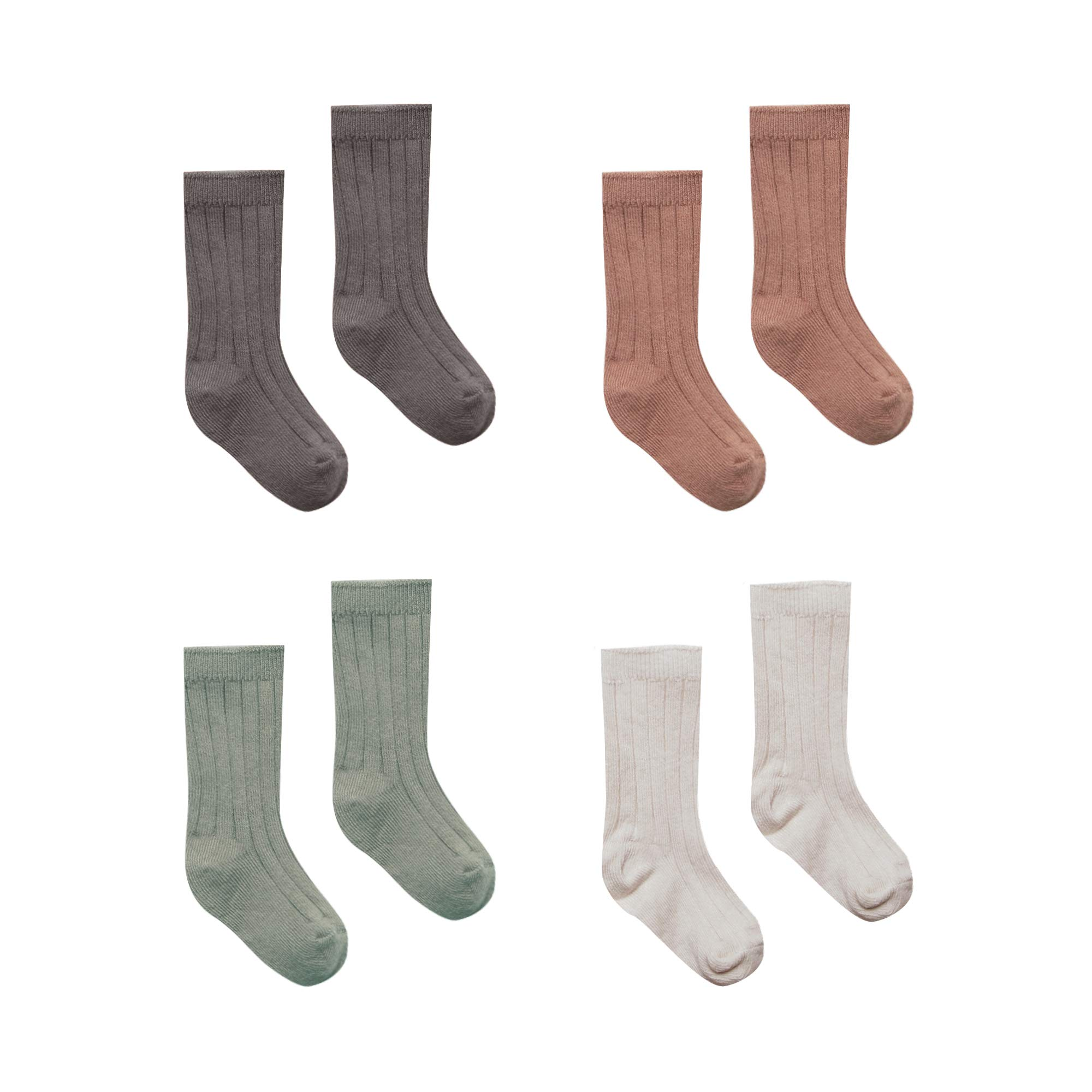 Quincy Mae Newborn, Baby, and Toddler Socks, Set of 4