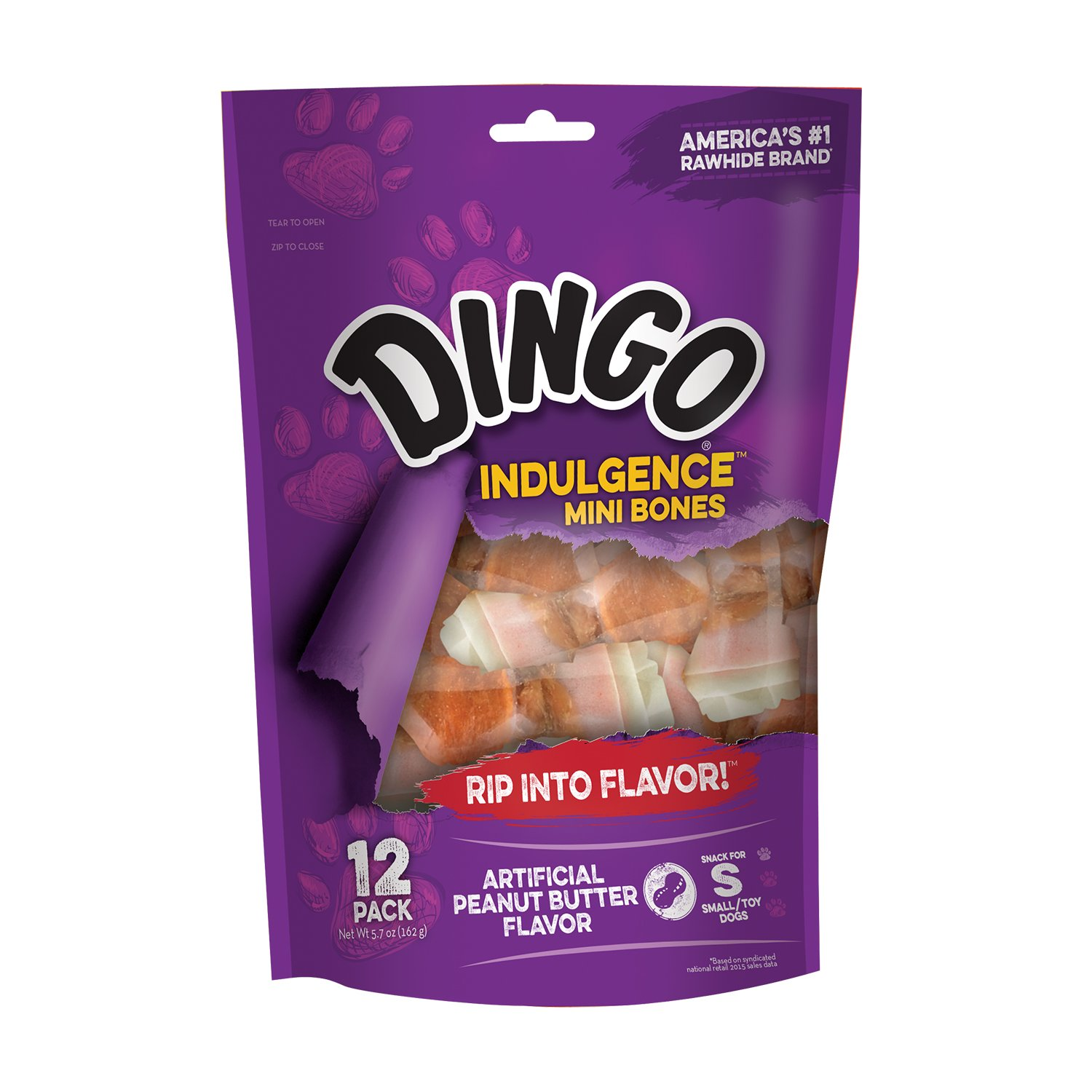 Dingo Mini Bones, Rawhide Chews for Dogs, Non-China Rawhides, Made with Real Chicken