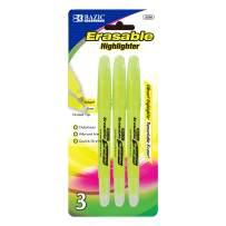BAZIC Yellow Erasable Highlighter (3/Pack)