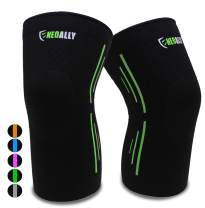 NeoAlly Knee Compression Sleeves Spot-On Compression Lightweight Breathable & Flexible No Restriction Best for Running Workout and Sports (Pair)