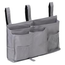 TOPWOOZU Bedside Organizer Caddy Hanging Storage Bag Holder 8 Pockets Bed Rails Dorm Rooms Bunk Beds Apartments Bathrooms Gray