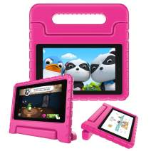 Fintie Shock Proof Case for All-New Amazon Fire 7 Tablet (9th Generation, 2019 Release) - Kiddie Series Light Weight Convertible Handle Stand Kids Friendly Cover, Magenta