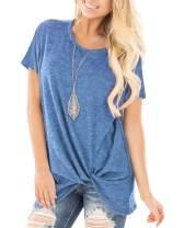 ZILIN Women's Cold Shoulder T-Shirt Short Sleeve Knot Twist Front Tunic Blouse Tops