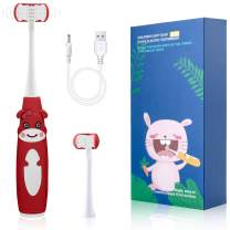 Cellena Kids Electric Toothbrush - Soft 3-Sided Bristles, Easy-Press Power Button, Cartoon Sonic Toothbrush with Smart Timer, 2 Brush Heads - Ages 5+ (Red-Cartoon)