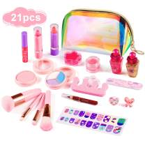 Auney Girls Makeup Kit Real Kids Make Up Set with Cute Cosmetic Bag, Washable Play Makeup Toys for Little Girls