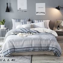 Lausonhouse Seersucker Duvet Cover Set,Pure Cotton Yarn Dyed Seersucker Weave Striped Bedding Set,3 Pieces (1 Duvet Cover with 2 Pillowshams)- Blue- Full/Queen