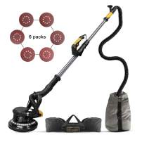 Ginour 360° Drywall Sander With Vacuum Attachment, Variable Speed & LED Light, Extendable Handle, Long Dust Hose, Storage Bag, 6 Sanding Discs
