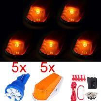 cciyu 5pcs Top Cab Roof Blue LED Lights + Amber Lens Marker Running Lamps Cover case with Base Housing +wiring pack Fits Replacement fit for Truck 4x4