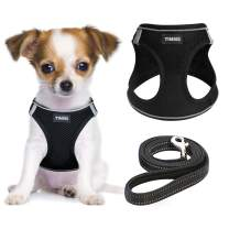 YIMEIS Dog Harness and Leash Set, No Pull Soft Mesh Pet Harness, Reflective Adjustable Puppy Vest for Small Dogs, Cats (S, Black)