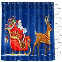 nononfish Xmas Shower Curtains Santa with Reindeer Polyester Fabric Waterproof Shower Curtain for Bathroom 71X71 in with Hooks