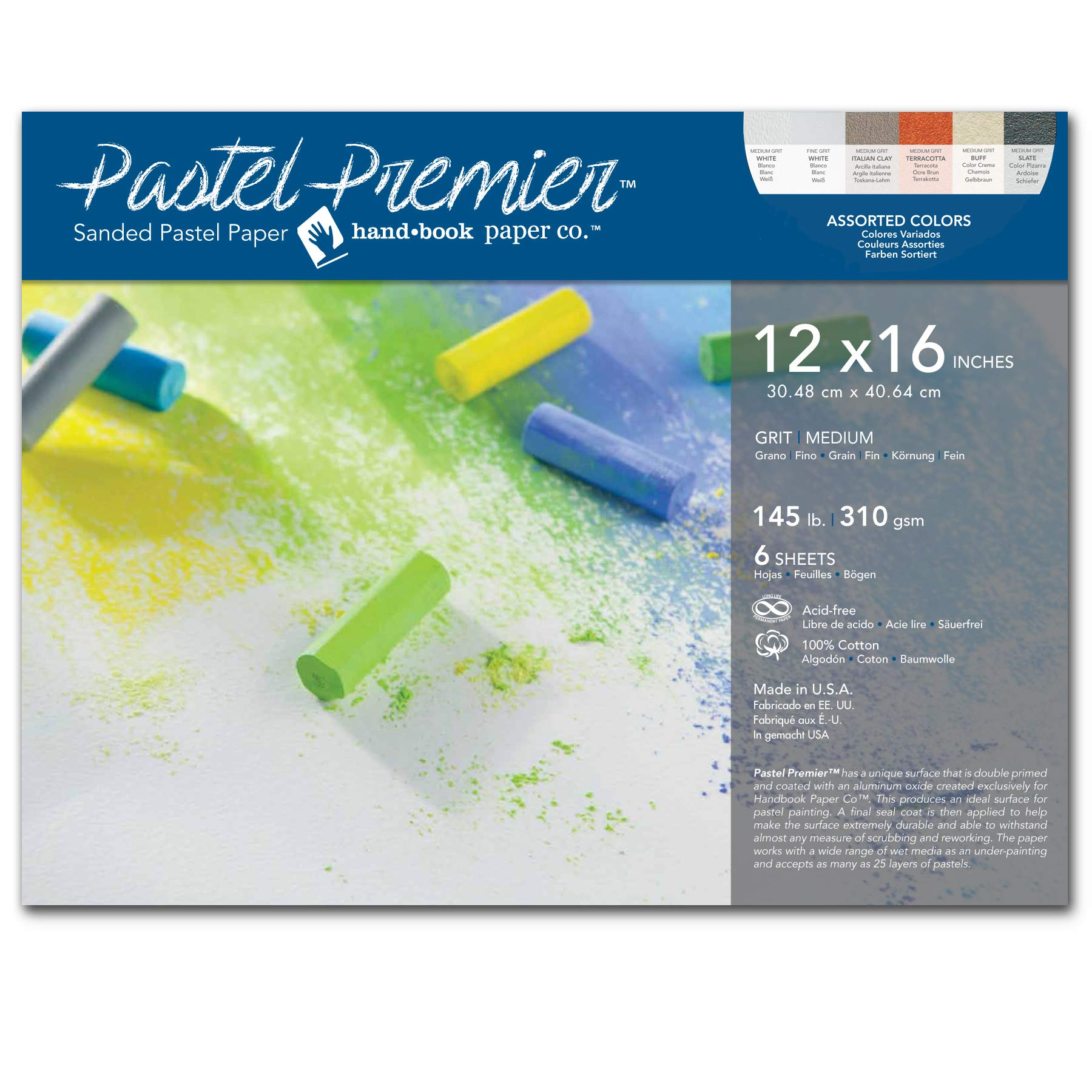 Speedball Art Products 517046 Premier Sanded Pastel Paper, 12 x 16, Assorted Colors 6 Count