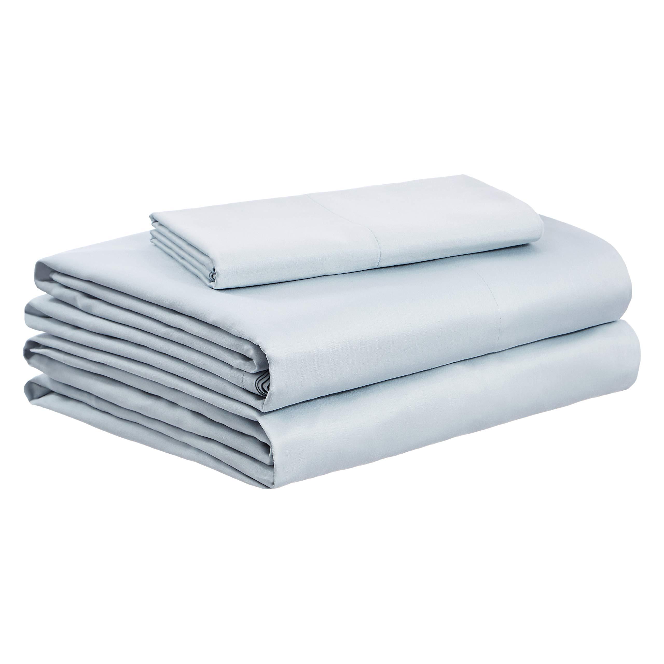 AmazonBasics Organic Sateen Cotton Sheet Set - Twin XL, Sage Green