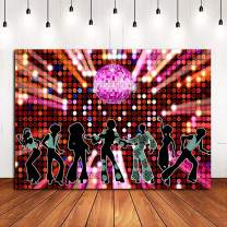 70s 80s 90s Disco Fever Dancers Party Decorations Photography Backdrop 7x5ft Vinyl Let's Glow Crazy in The Dark Photo Background Shining Neon Stages for Photo Booth Studio Props Banner Candy Table