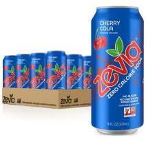 Zevia Cherry Cola, Zero Calorie or Sugar, Naturally Sweetened, Carbonated Soda, Refreshing, Flavorful, & Tasty, 16 Fl Oz Cans Each, Pack Of 12