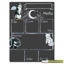 Cohas Monthly Milestone Board for Baby with Arctic Theme, Reusable Chalkboard Style Surface, and Liquid Chalk Marker, 12 by 16 Inches, White Marker