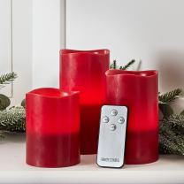 Lights4fun, Inc. Set of 3 Red Wax Battery Operated Flameless LED Pillar Candles