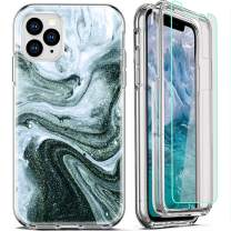 FIRMGE for iPhone 11 Pro Max Case, with [2 x Tempered Glass Screen Protector] 360 Full-Body Coverage Hard PC+Soft TPU Silicone 3 in 1 Military Grade Shockproof Phone Protective Cover Marble 03