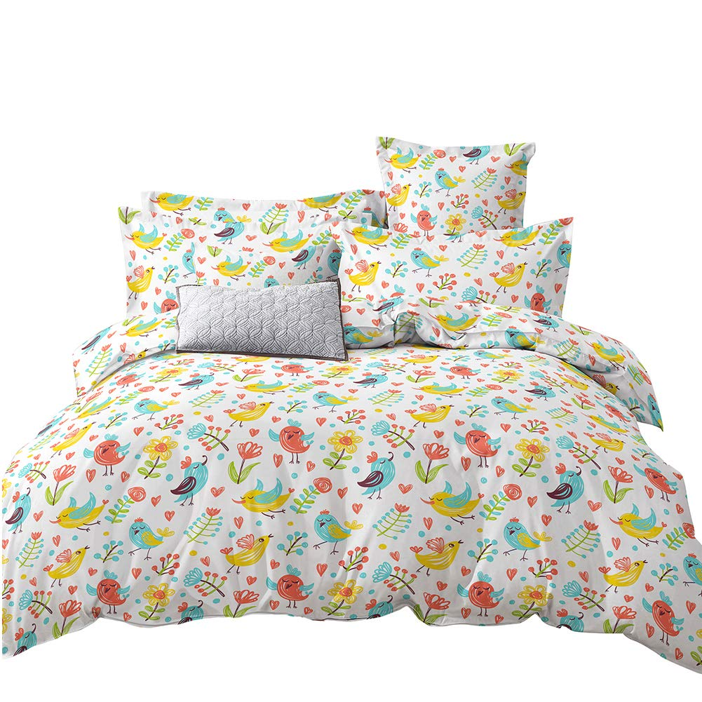 CHILDREN'S GANG Kids Twin Duvet Cover Set, 3 Pieces Cotton Kids Bedding Sets for Teen Boys Girls Included Reversible Comforter Cover and Pillowcase (Forest Bird, Twin Size)