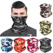 Seamless Face Cover Bandanas 6pcs Magic Headbands Scarf Neck Gaiter Balaclava Headwear for Men Women