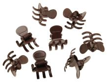L. Erickson Clip & Go Mini Metal Jaw Hair Clips, Chocolate, Set of 8 - Strong Hold For Easy Styling Solutions