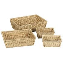 Household Essentials Rectangular Banana Leaf Basket Set (Set of 4), Natural Brown
