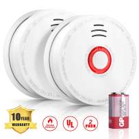 2 Pack Smoke Detector, UL Approved Photoelectric Sensor Smoke Alarm, Fire Alarm with 9V DC Battery, 10 Years Fire Safety for Home School Hotel and Other Places