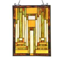 Capulina Victorian Handcrafted Stained Glass Windows Panels Hangings Art, Tiffany Window Panel with a Classic Feel, Accentuate Any Home or Business - Abstract Art Style (W=17.6 x H=24.6 inches)