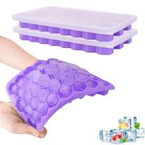 Nuovoware 2 Pack Ice Cube Trays, Totally 76-Ice Pop Molds Easy-Release Silicone Ice Pop Makers with Spill-Resistant Removable Lid, BPA Free, Kitchen Gadget, Stackable & Flexible - Purple
