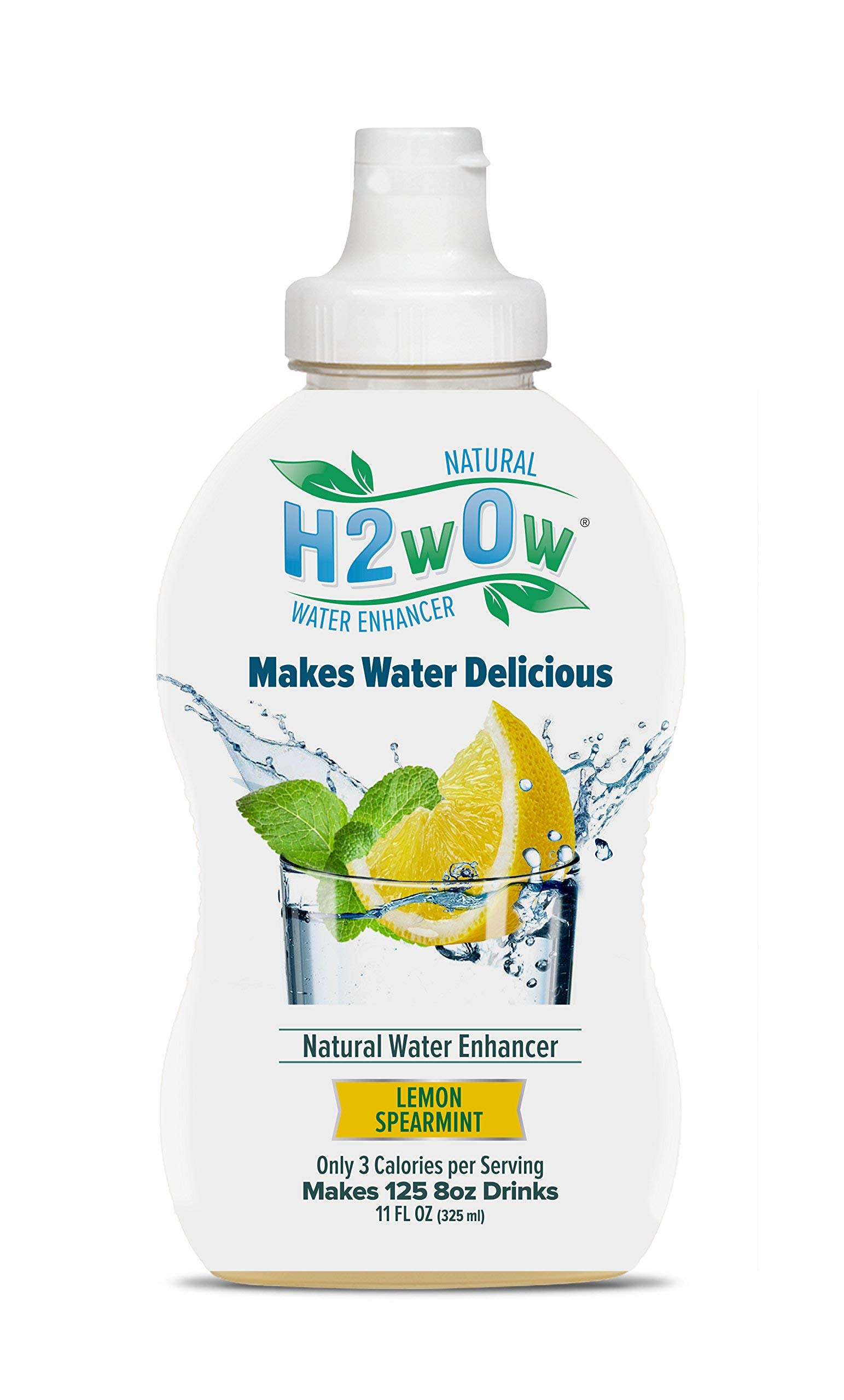 H2wOw Liquid Water Enhancer Drops – ORGANIC & Natural Extracts of Real Fruit - a Hint of Organic Stevia - Delicious Lemon Spearmint Flavored Water 11oz/125 servings