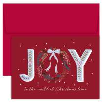 """Masterpiece Studios Hollyville 18-Count Christmas Cards in Keepsake Box, 7.8"""" x 5.6"""", Joy to the World"""