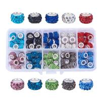 NBEADS 1 Box 100 PCS Mix Color Crystal Charms Rhinestone Spacer Beads Largr Hole Beads Fit European Bracelet Snake Chain Charms Bracelet