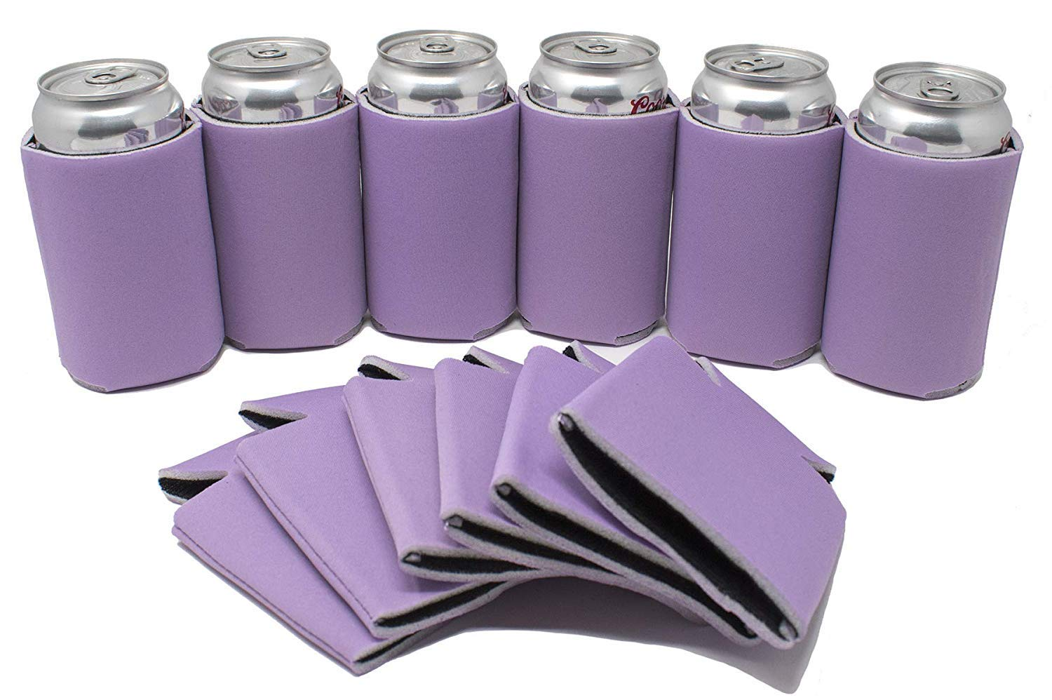 TahoeBay 12 Blank Beer Can Coolers, Plain Bulk Collapsible Soda Cover Coolies, DIY Personalized Sublimation Sleeves for Weddings, Bachelorette Parties, Funny HTV Party Favors (Lavender, 12)
