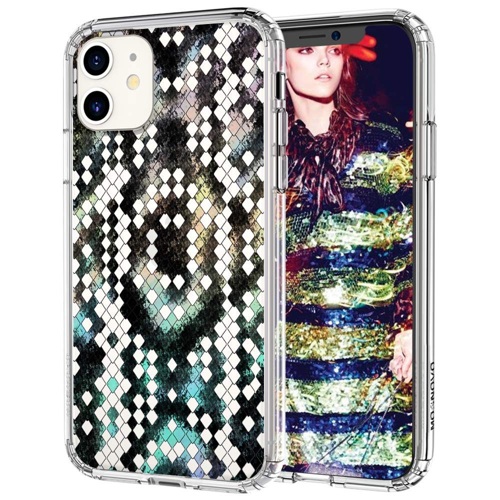 MOSNOVO iPhone 11 Case, Snake Print Pattern Clear Design Transparent Plastic Hard Back Case with TPU Bumper Protective Case Cover for iPhone 11