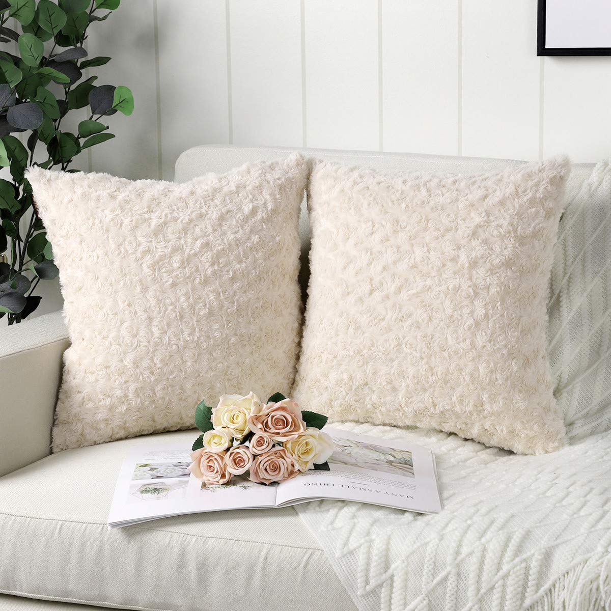 Mandioo Pack of 2 Beige Faux Fur 3D Flower Pattern Fuzzy Cozy Soft Decorative Throw Pillow Covers Set Cushion Cases Pillowcases for Couch Sofa Bedroom Car 24x24 Inches