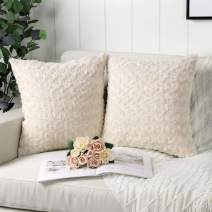 Mandioo Pack of 2 Beige Faux Fur 3D Flower Pattern Fuzzy Cozy Soft Decorative Throw Pillow Covers Set Cushion Cases Pillowcases for Couch Sofa Bedroom Car 20x20 Inches