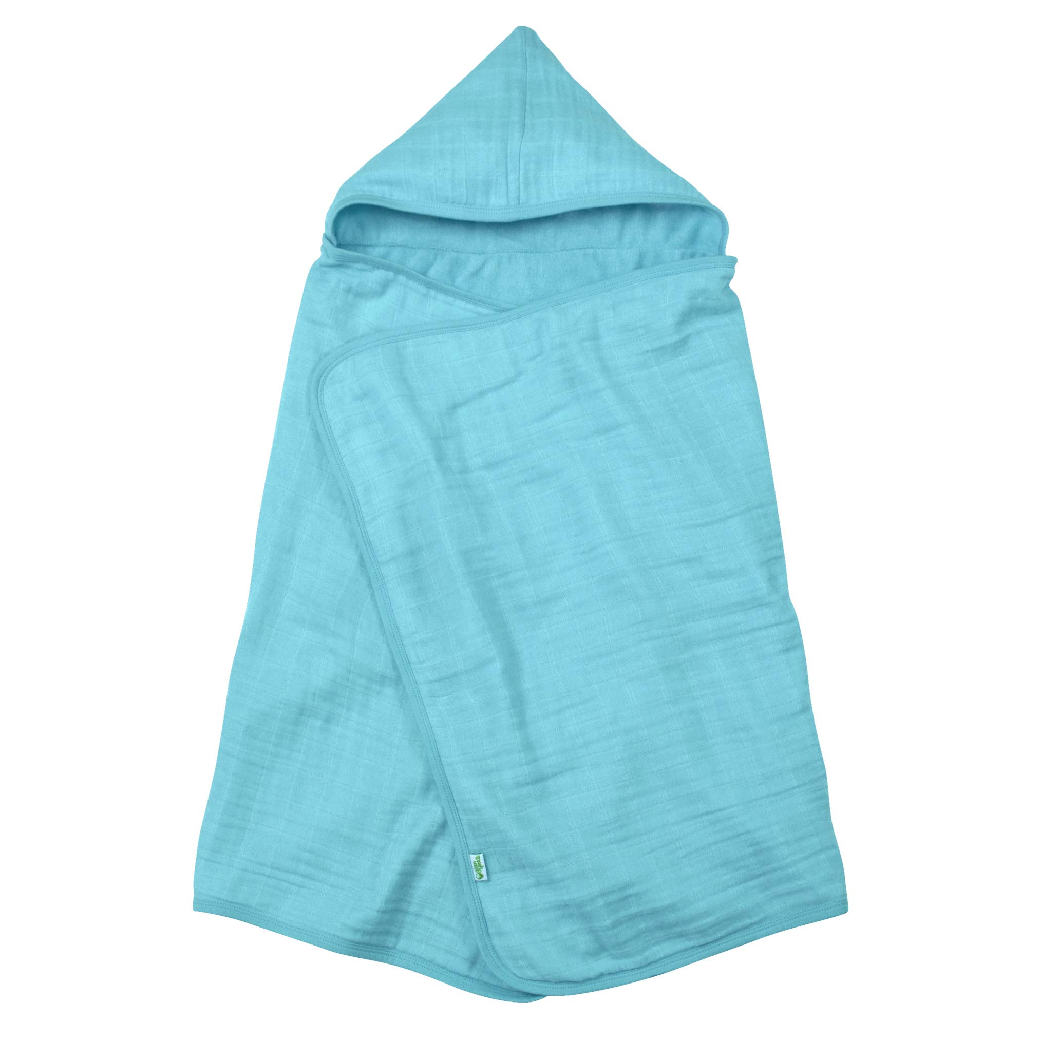 green sprouts Muslin Hooded Towel made from Organic Cotton   The perfect towel for bath, beach, or pool   Organic cotton muslin & knitted terry, Hand pockets help toddler dry independently
