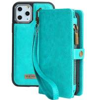 KelaSip iPhone 11 Pro Max Wallet Case, Leather Wallet Phone Case & Card Holder Buckle Magnetic Detachable,Blue,for iPhone 11 Pro Max