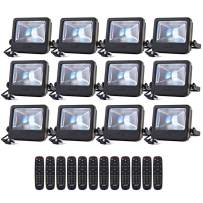 LOFTEK 30W LED Flood Light, RGB Spotlight with Remote Control, IP66 Protection and UL Listed Plug, 16 Colors Changing and 6 Levels Adjustable Brightness for Outdoor Decoration, Black, Pack of 12
